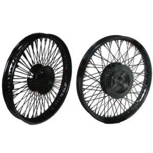 80 spokes front rear disc brake black steel wheel rim wm2-19 royal enfield