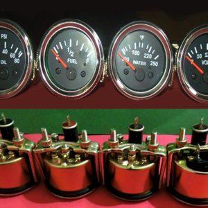 2 /52mm electrical oil pressure + temperature + volt+ fuel gauge chrome bezels tractor