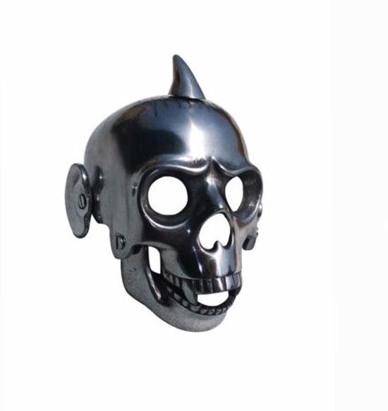 Chopper bobber aluminium skull with ears headlight case for enfield/harley bikes