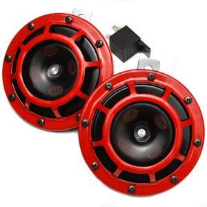 Hella red grill supertone horn set 12v pair