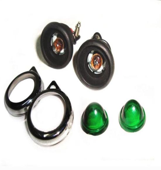 6v pair green pilot lamps assembly + bulbs for royal enfield