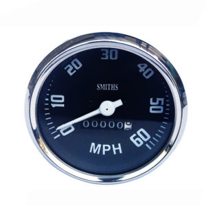 Chrome speedometer smith black face 0-60 mph bold vintage bikes