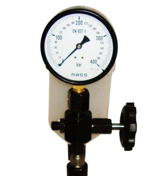 0 - 400 bar, 3/8 bsp thread diesel injector nozzle pop pressure tester, pressure gauge