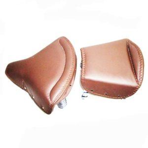 Front & pillion seat cover lycett type tan leather norton bsa ajs