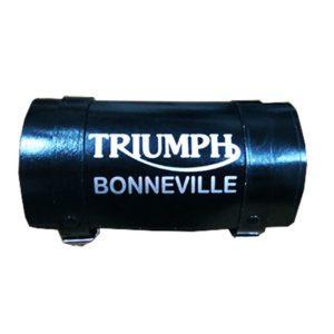 Vintage pure black leather made tool bag roll triumph bonneville logo engravin