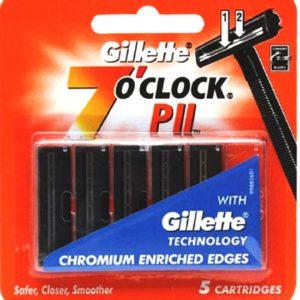 Pack of 5 gillette 7o clock p ii - twin blade cartridges