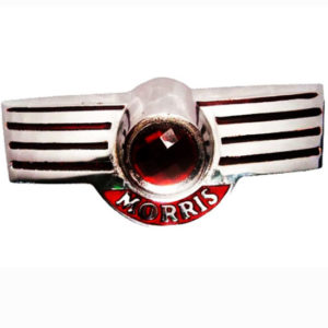 Alloy chrome plated morris minor script rear boot badge emblem motif unit
