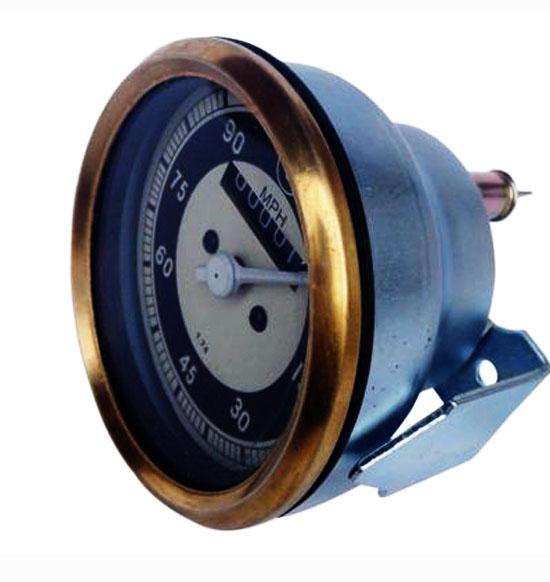 Bmw black &cream face 0-90 mph speedometer brass bazel
