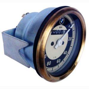 Bmw black & cream face 0-140 kmph speedometer brass bezel