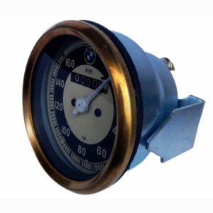 Speedometer brass bezel (0-160 kmph) bmw/vintage bikes black & cream face